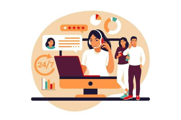 Concepto de servicio al cliente. mujer con auriculares y micrófono con laptop. soporte, asistencia, call center. ilustración vectorial. estilo plano