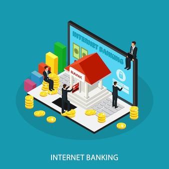 Concepto de servicio de banca por internet isométrica