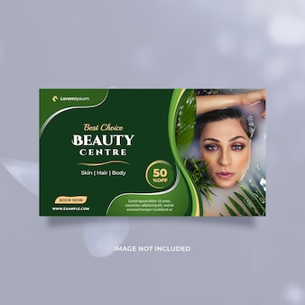 Concepto de servicio de centro de belleza, publicación en redes sociales y plantilla de banner con tema natural verde