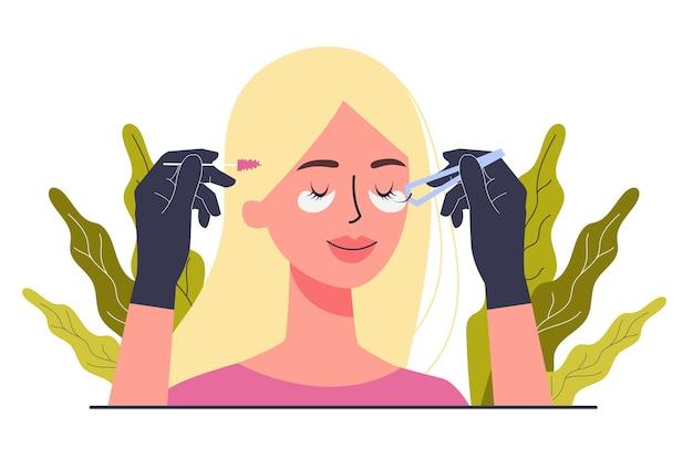 Concepto de servicio de centro de belleza. visitantes del salón de belleza que tienen un procedimiento diferente. personaje femenino poniendo pestañas postizas en el salón. ilustración