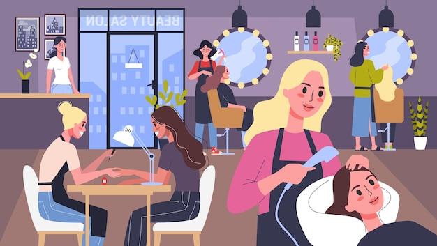 Concepto de servicio de centro de belleza. visitantes del salón de belleza que tienen un procedimiento diferente. personaje femenino en salón. concepto de tratamiento de belleza capilar profesional. uñas, peinado. ilustración