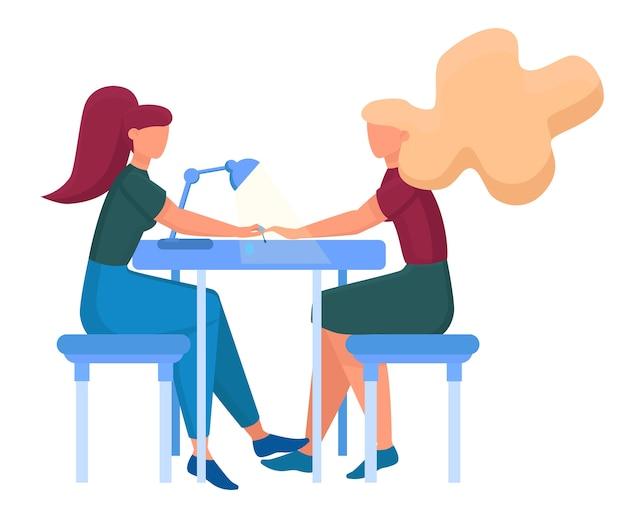 Concepto de servicio de centro de belleza. visitantes del salón de belleza que tienen un procedimiento diferente. personaje femenino en el salón haciendo una manicura. ilustración