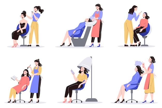 Concepto de servicio de centro de belleza. visitantes del salón de belleza que tienen un procedimiento diferente. personaje femenino en salón. tratamiento y peinado del cabello. conjunto de ilustraciones