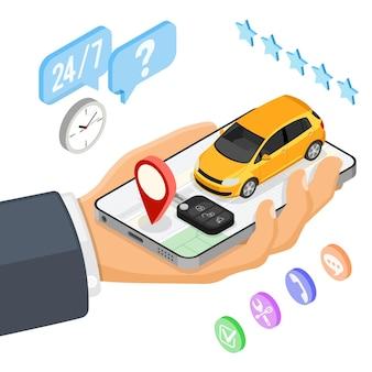 Concepto de servicio de coche compartido.
