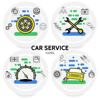 Concepto de servicio de coche con neumáticos, engranajes, llaves, batería de transmisión, amortiguador, motor, pistón, chispa