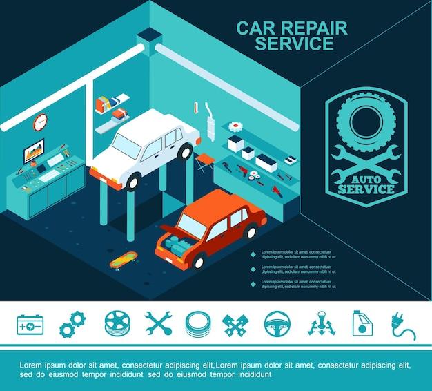 Concepto de servicio de coche plano con automóviles rotos en garaje y diferentes iconos de reparación de automóviles