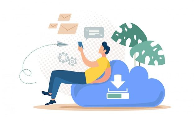 Concepto de servicio de copia de seguridad de mensajes en línea