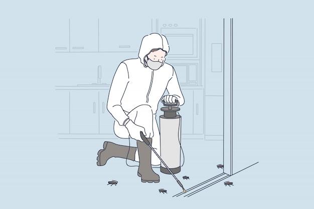 Concepto de servicio de desinfección de insectos
