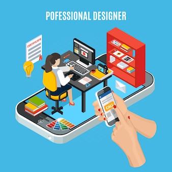Concepto de servicio de diseño gráfico con diseñador profesional en el trabajo.