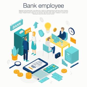 Concepto de servicio de empleado de banco, estilo isométrico