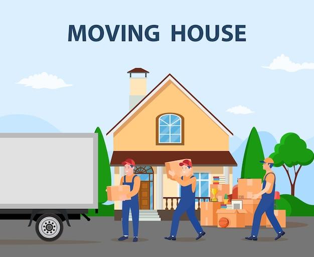 Concepto de servicio de entrega. casa movil.