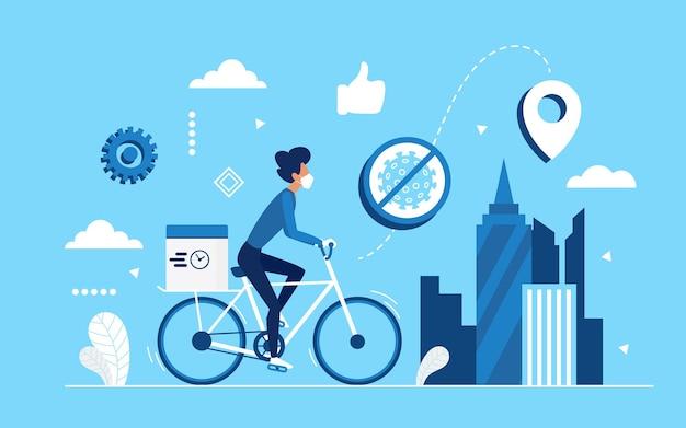 Concepto de servicio de entrega de ciudad sin contacto seguro por mensajería