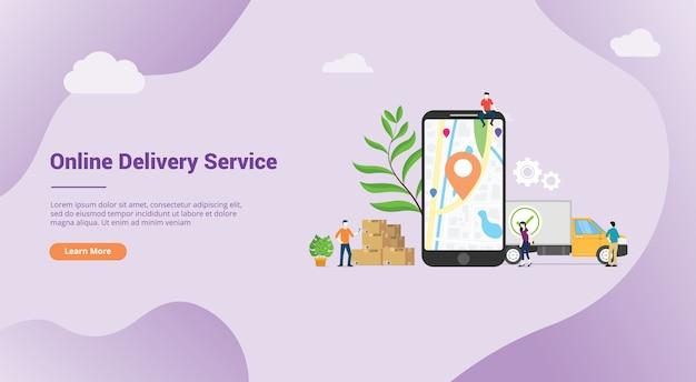 Concepto de servicio de entrega en línea con aplicaciones de localización gps móvil.