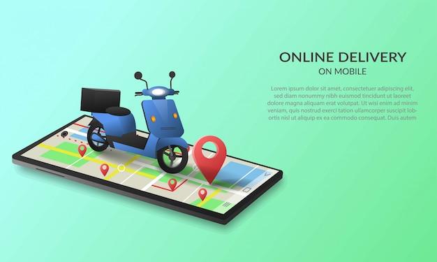 Concepto de servicio de entrega en línea en dispositivos móviles, seguimiento de pedidos en línea, entrega a domicilio y oficina. logística de la ciudad