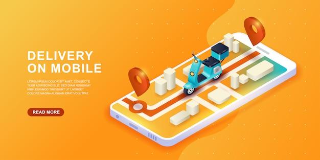 Concepto de servicio de entrega en línea. entrega rápida en scooter en el móvil. concepto de comercio electrónico.