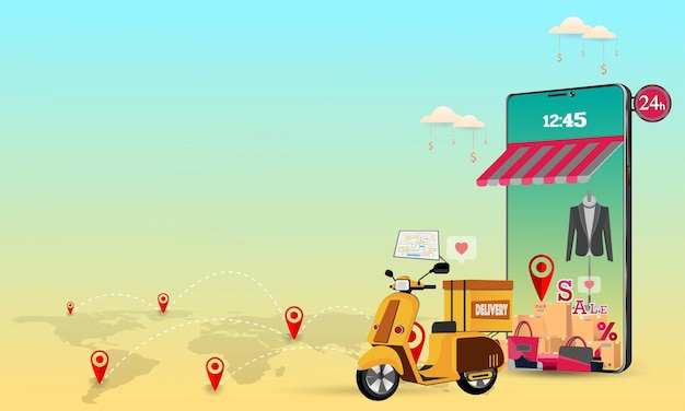Concepto de servicio de entrega en línea. ilustración.