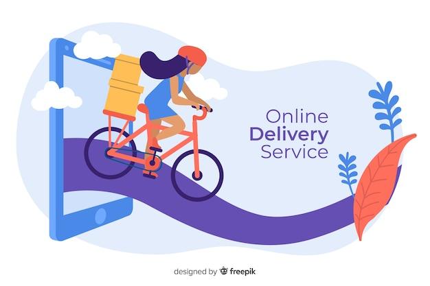 Concepto de servicio de entrega en línea para la página de destino