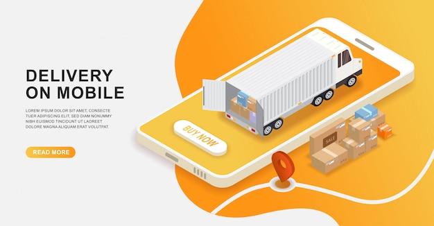 Concepto de servicio de entrega en línea, pedido isométrico de logística en línea en el móvil.