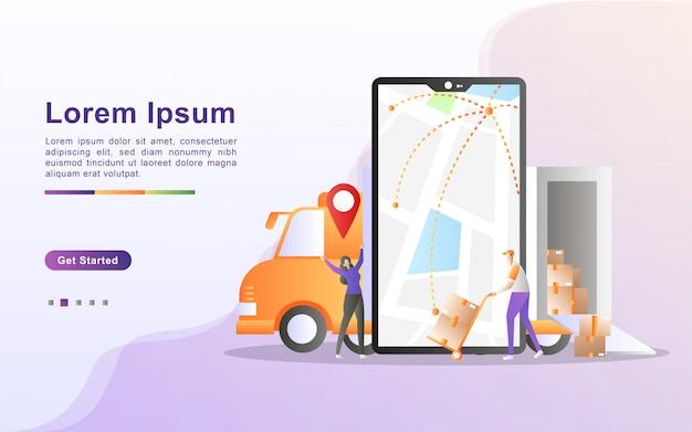 Concepto de servicio de entrega en línea, seguimiento de pedidos en línea, entrega a domicilio, entrega gratuita y rápida, carga en línea, distribución logística.