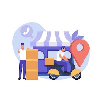 Concepto de servicio de entrega en línea, seguimiento de pedidos en línea