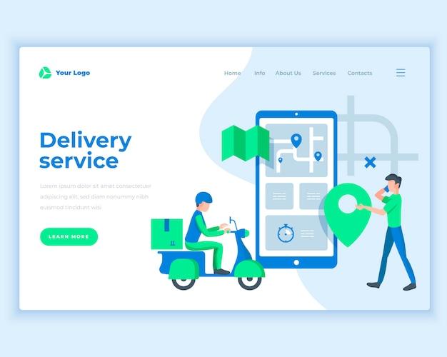Concepto de servicio de entrega de plantilla de página de aterrizaje con personas.