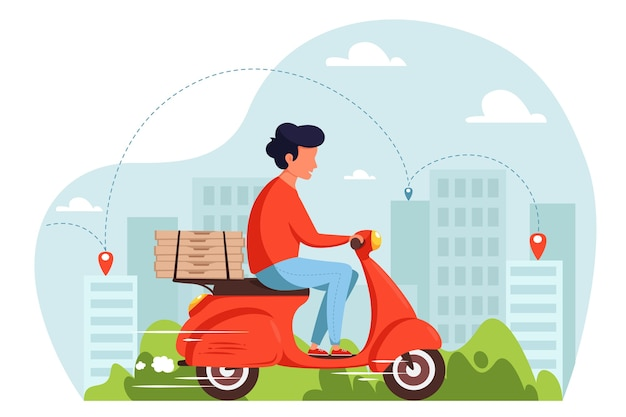 Concepto de servicio de entrega de scooter, scooter de mensajería con cajas de pizza. en estilo plano.