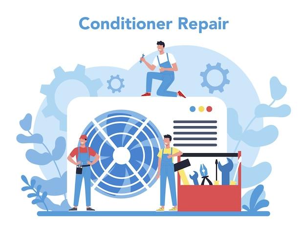 Concepto de servicio de instalación y reparación de aire acondicionado