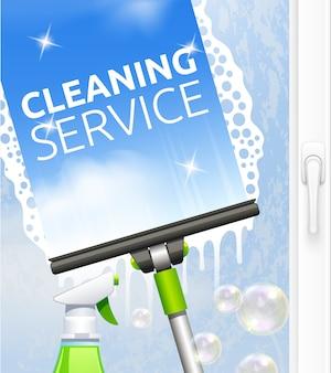 Concepto de servicio de limpieza de cristales.