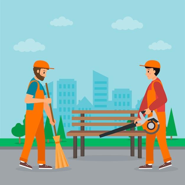 Concepto de servicio de limpieza. dos conserjes barren la calle con paisaje urbano. el primero sostiene la escoba, otro sostiene el soplador de jardín. estilo plano. ilustración vectorial