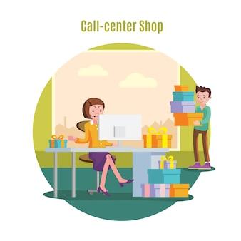 Concepto de servicio de línea de ayuda de tienda