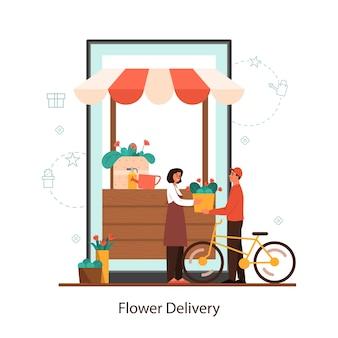 Concepto de servicio en línea de entrega de flores