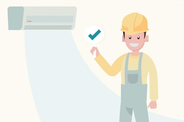 Concepto de servicio de mantenimiento de aire acondicionado