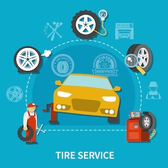 Concepto de servicio de neumáticos