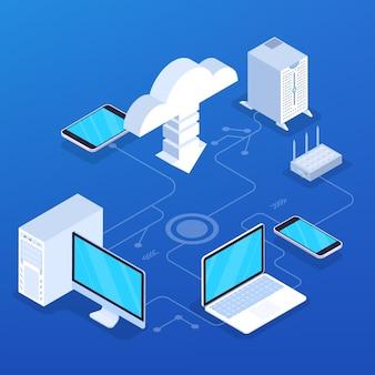 Concepto de servicio en la nube. idea de tecnología digital y almacenamiento de datos. conexión a internet y carga de información. ilustración isométrica