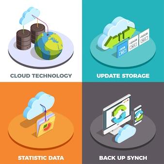Concepto de servicio en la nube isométrico