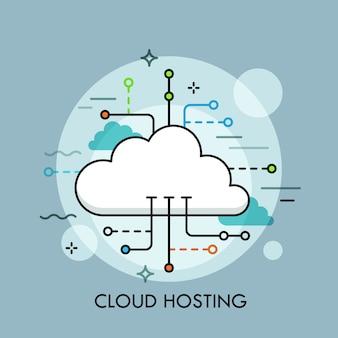 Concepto de servicio o tecnología de computación en la nube, almacenamiento y hospedaje de big data, descarga, carga, administración y sincronización de archivos en línea.