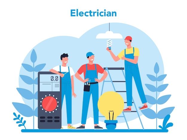 Concepto de servicio de obras de electricidad. trabajador profesional en el elemento eléctrico de reparación uniforme. técnico de reparación y ahorro energético. ilustración de vector aislado en estilo de dibujos animados