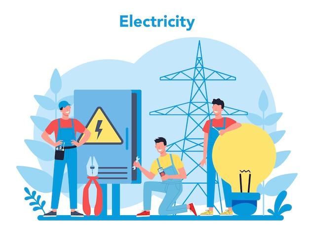 Concepto de servicio de obras de electricidad