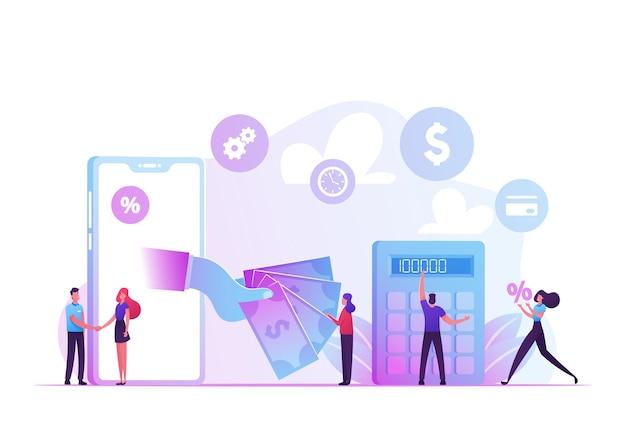 Concepto de servicio de organización de financiación de microcrédito. ilustración plana de dibujos animados