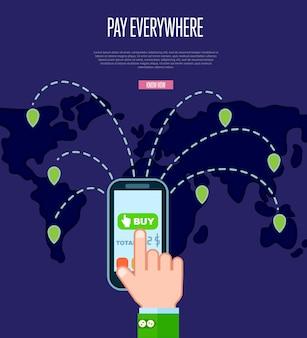 Concepto de servicio de pago en todas partes en diseño plano