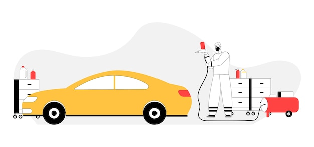 Concepto de servicio de pintura con aerógrafo de coche.