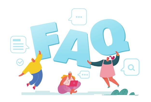 Concepto de servicio de preguntas frecuentes aislado en blanco