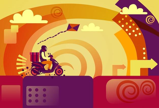 Concepto de servicio rápido del mensajero de la motocicleta de la vespa del montar a caballo del hombre de entrega