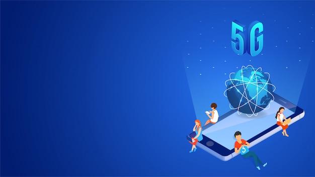 Concepto de servicio de red 5g de internet móvil.