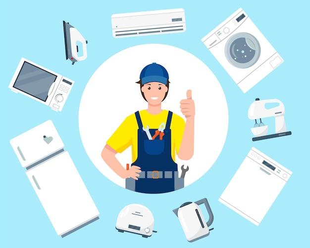 Concepto de servicio de reparación amable sonriente carácter de hombre de reparación en uniformes y electrodomésticos
