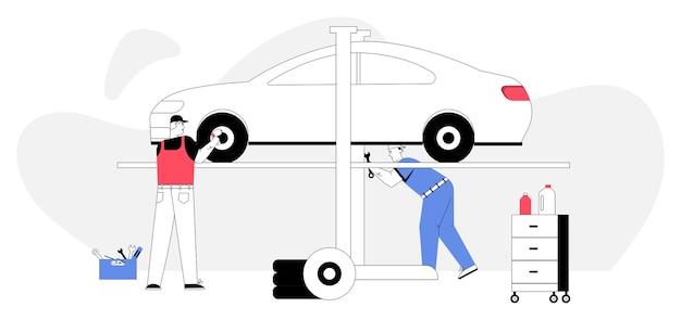 Concepto de servicio y reparación de automóviles. el mecánico de automóviles inspecciona el automóvil, repara la rueda.