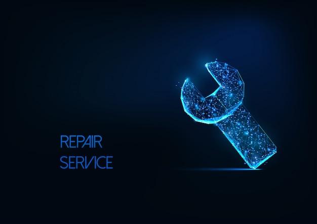 Concepto de servicio de reparación futurista con brillante símbolo de herramienta de llave poligonal baja