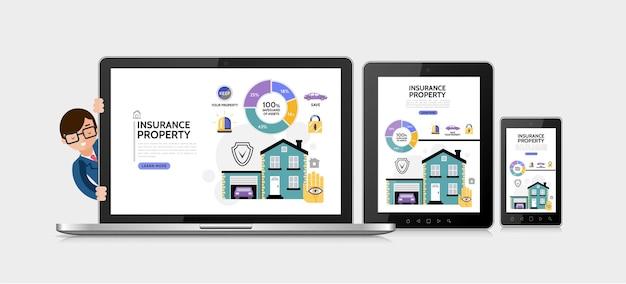 Concepto de servicio de seguro de propiedad plana con diagrama de bloqueo de sirena de escudo de coche de garaje de propiedad