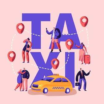 Concepto de servicio de taxi. ilustración plana de dibujos animados