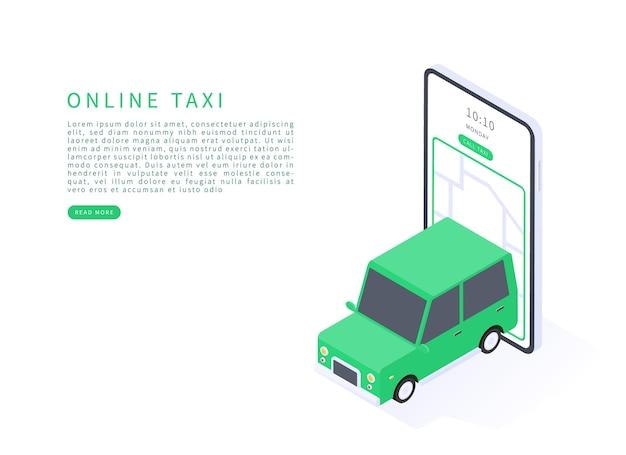 Concepto de servicio de taxi en línea en isométrico en renderizado 3d